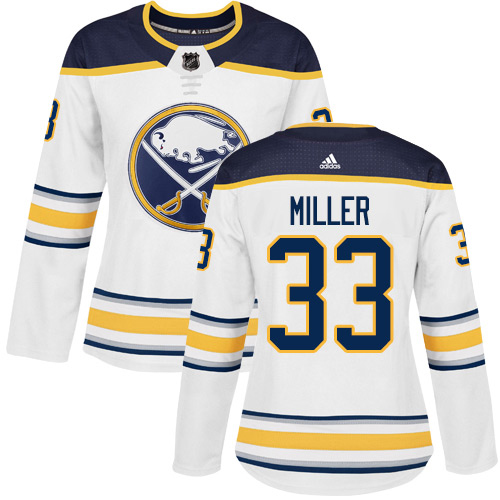 Adidas Sabres #33 Colin Miller White Road Authentic Women's Stitched NHL Jersey