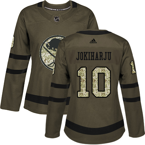 Adidas Sabres #10 Henri Jokiharju Green Salute to Service Women's Stitched NHL Jersey