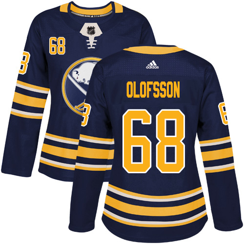 Adidas Sabres #68 Victor Olofsson Navy Blue Home Authentic Women's Stitched NHL Jersey