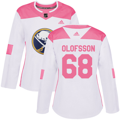 Adidas Sabres #68 Victor Olofsson White/Pink Authentic Fashion Women's Stitched NHL Jersey