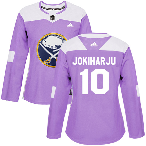 Adidas Sabres #10 Henri Jokiharju Purple Authentic Fights Cancer Women's Stitched NHL Jersey