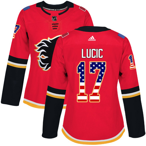 Adidas Flames #17 Milan Lucic Red Home Authentic USA Flag Women's Stitched NHL Jersey