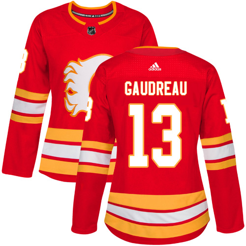 Adidas Flames #13 Johnny Gaudreau Red Alternate Authentic Women's Stitched NHL Jersey