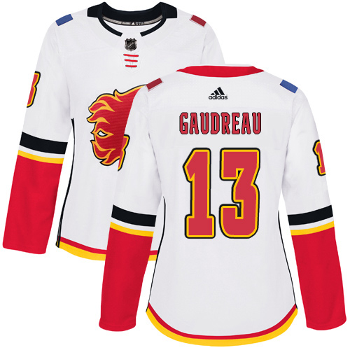 Adidas Flames #13 Johnny Gaudreau White Road Authentic Women's Stitched NHL Jersey