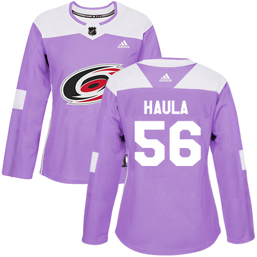Adidas Hurricanes #56 Erik Haula Purple Authentic Fights Cancer Women's Stitched NHL Jersey