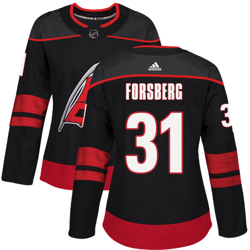 Adidas Hurricanes #31 Anton Forsberg Black Alternate Authentic Women's Stitched NHL Jersey