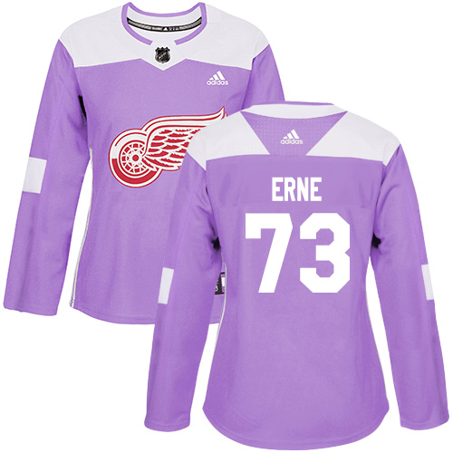 Adidas Red Wings #73 Adam Erne Purple Authentic Fights Cancer Women's Stitched NHL Jersey