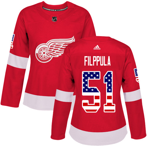 Adidas Red Wings #51 Valtteri Filppula Red Home Authentic USA Flag Women's Stitched NHL Jersey