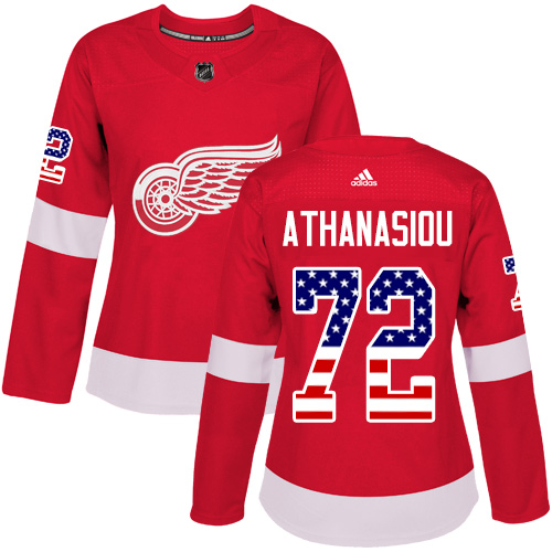 Adidas Red Wings #72 Andreas Athanasiou Red Home Authentic USA Flag Women's Stitched NHL Jersey