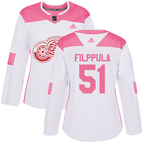 Adidas Red Wings #51 Valtteri Filppula White/Pink Authentic Fashion Women's Stitched NHL Jersey