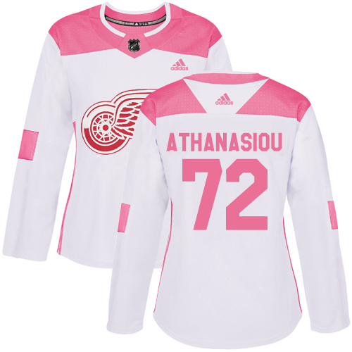 Adidas Red Wings #72 Andreas Athanasiou White/Pink Authentic Fashion Women's Stitched NHL Jersey