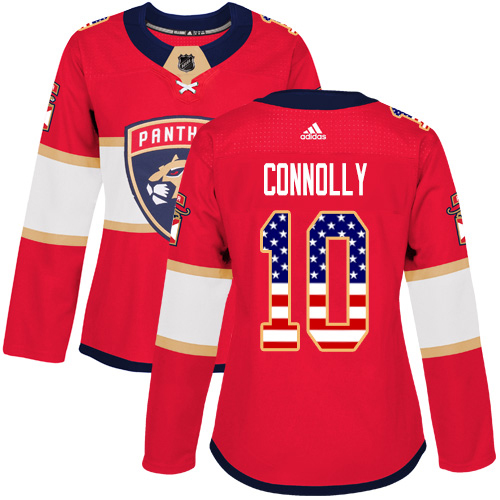 Adidas Panthers #10 Brett Connolly Red Home Authentic USA Flag Women's Stitched NHL Jersey