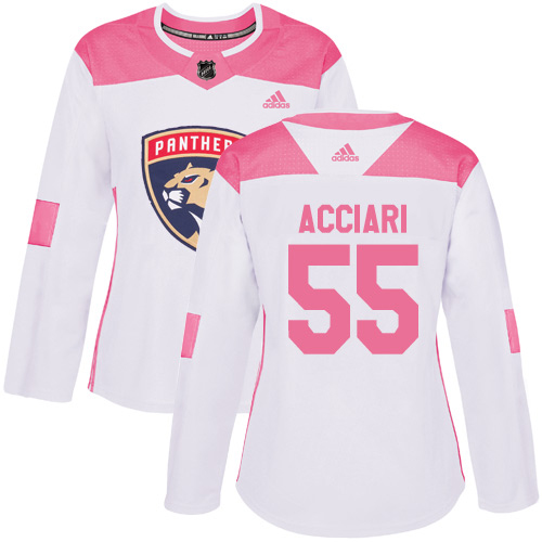Adidas Panthers #55 Noel Acciari White/Pink Authentic Fashion Women's Stitched NHL Jersey