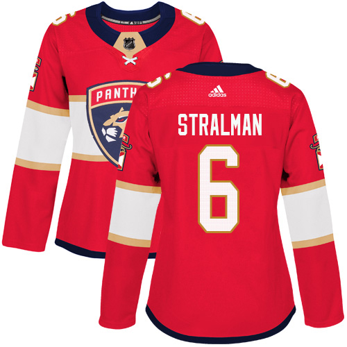 Adidas Panthers #6 Anton Stralman Red Home Authentic Women's Stitched NHL Jersey