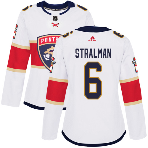 Adidas Panthers #6 Anton Stralman White Road Authentic Women's Stitched NHL Jersey
