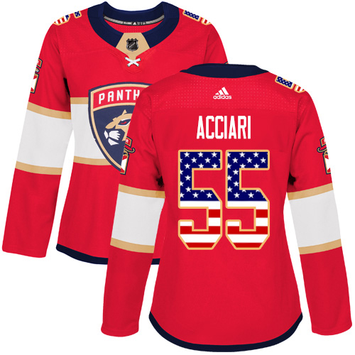 Adidas Panthers #55 Noel Acciari Red Home Authentic USA Flag Women's Stitched NHL Jersey