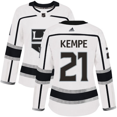 Adidas Kings #21 Mario Kempe White Road Authentic Women's Stitched NHL Jersey