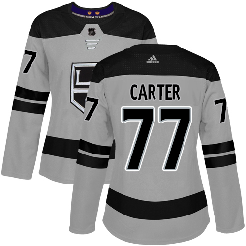 Adidas Kings #77 Jeff Carter Gray Alternate Authentic Women's Stitched NHL Jersey