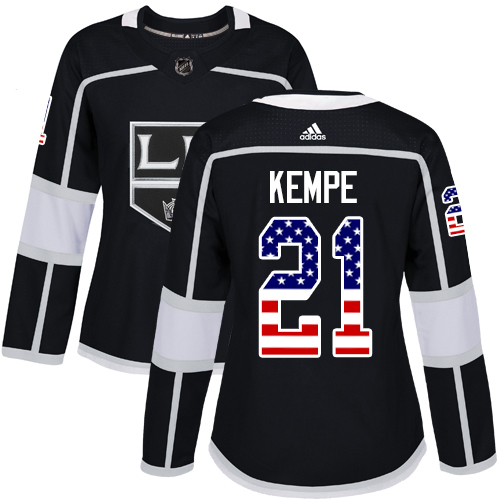Adidas Kings #21 Mario Kempe Black Home Authentic USA Flag Women's Stitched NHL Jersey