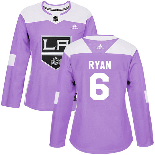 Adidas Kings #6 Joakim Ryan Purple Authentic Fights Cancer Women's Stitched NHL Jersey