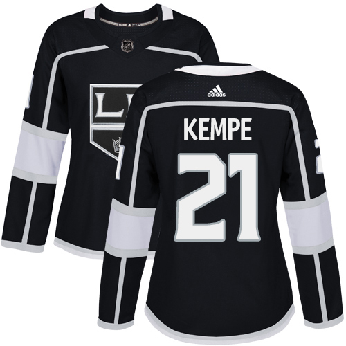 Adidas Kings #21 Mario Kempe Black Home Authentic Women's Stitched NHL Jersey