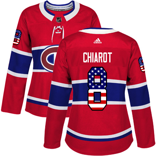 Adidas Canadiens #8 Ben Chiarot Red Home Authentic USA Flag Women's Stitched NHL Jersey