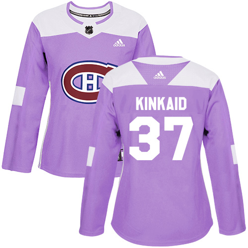 Adidas Canadiens #37 Keith Kinkaid Purple Authentic Fights Cancer Women's Stitched NHL Jersey
