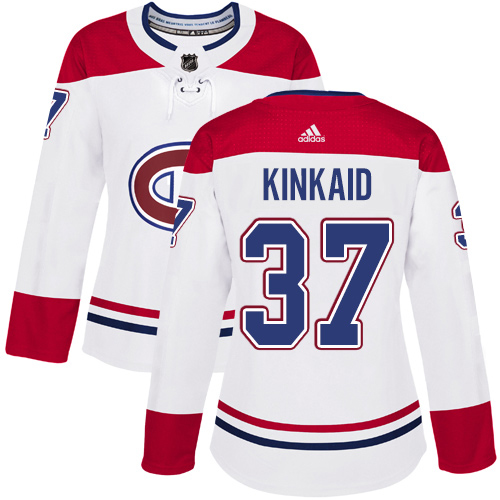Adidas Canadiens #37 Keith Kinkaid White Road Authentic Women's Stitched NHL Jersey