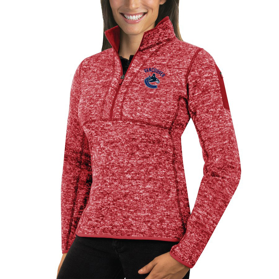 Vancouver Canucks Antigua Women's Fortune 1/2-Zip Pullover Sweater Red