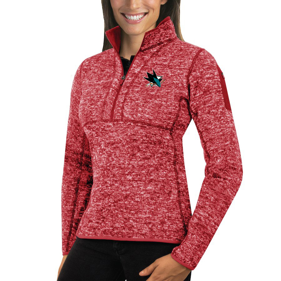 San Jose Sharks Antigua Women's Fortune 1/2-Zip Pullover Sweater Red