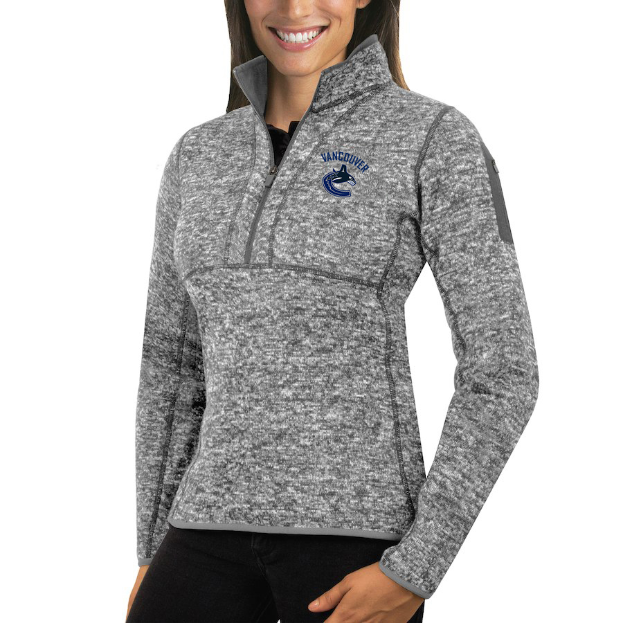 Vancouver Canucks Antigua Women's Fortune 1/2-Zip Pullover Sweater Black