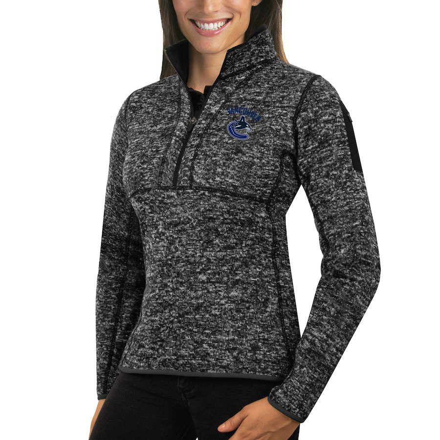 Vancouver Canucks Antigua Women's Fortune 1/2-Zip Pullover Sweater Charcoal