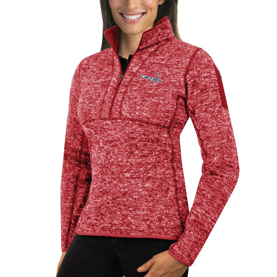 Washington Capitals Antigua Women's Fortune 1/2-Zip Pullover Sweater Red