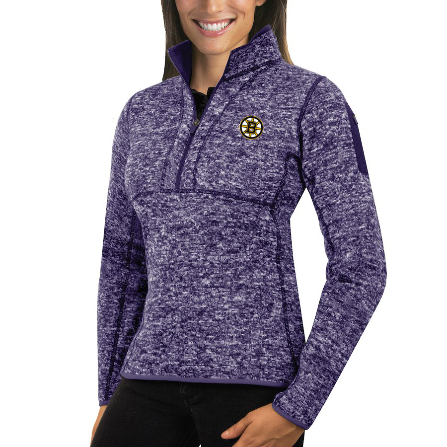 Boston Bruins Antigua Women's Fortune 1/2-Zip Pullover Sweater purple