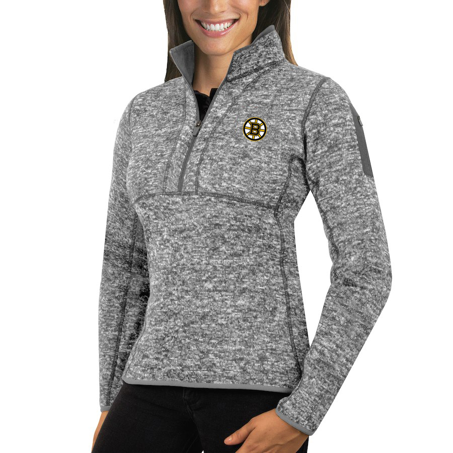 Boston Bruins Antigua Women's Fortune 1/2-Zip Pullover Sweater Black