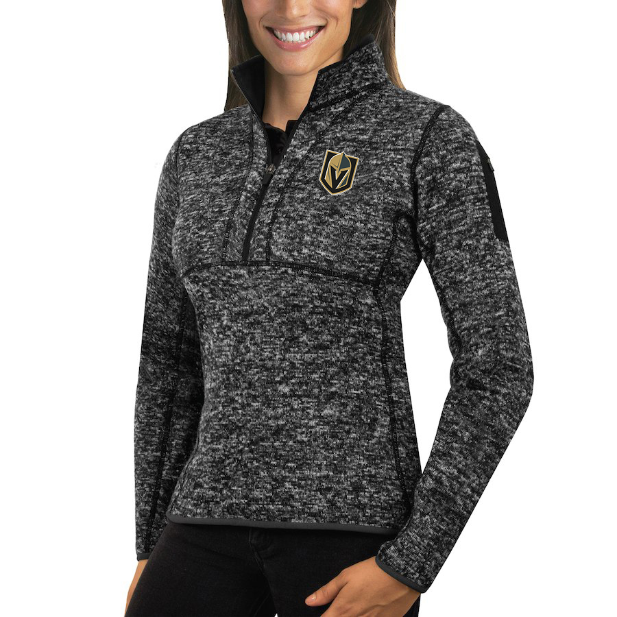 Vegas Golden Knights Antigua Women's Fortune 1/2-Zip Pullover Sweater Charcoal