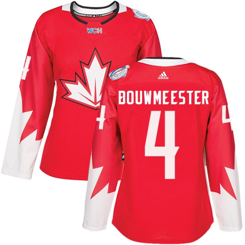 Team Canada #4 Jay Bouwmeester Red 2016 World Cup Women's Stitched NHL Jersey