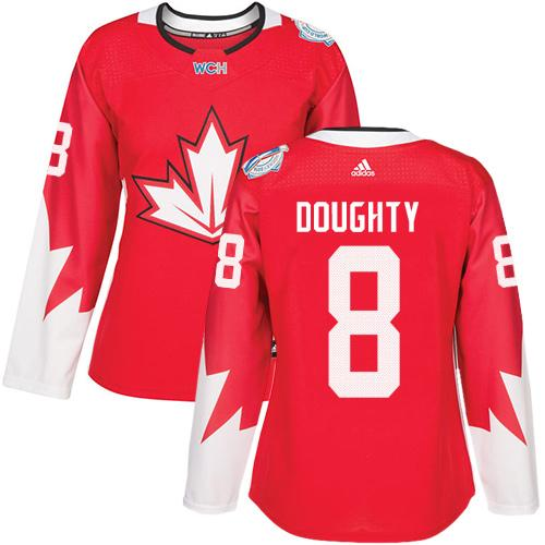 Team Canada #8 Drew Doughty Red 2016 World Cup Women's Stitched NHL Jersey