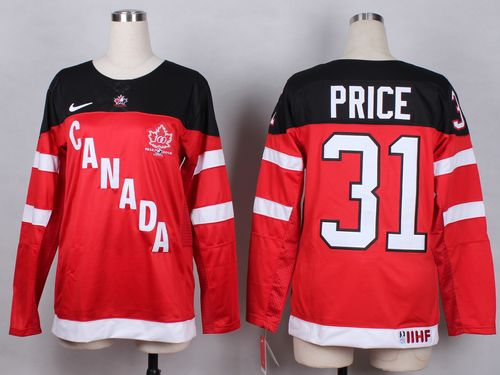 Team Canada #31 Carey Price Red 100th Anniversary Women's Stitched NHL Jersey