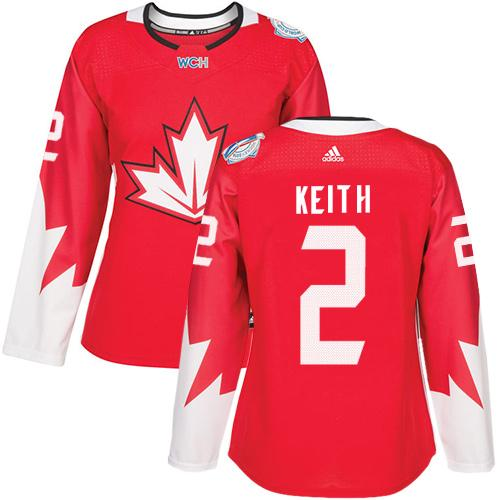 Team Canada #2 Duncan Keith Red 2016 World Cup Women's Stitched NHL Jersey