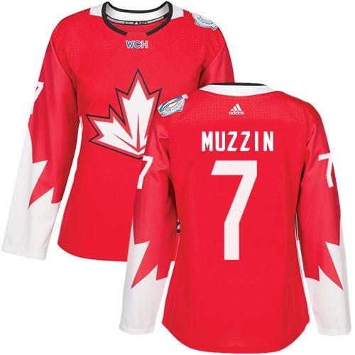 Team Canada #7 Jake Muzzin Red 2016 World Cup Women's Stitched NHL Jersey