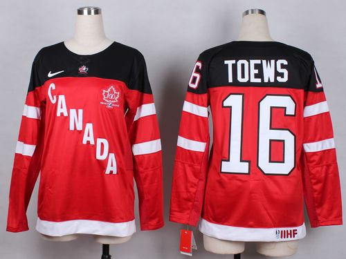 Team Canada #16 Jonathan Toews Red 100th Anniversary Women's Stitched NHL Jersey