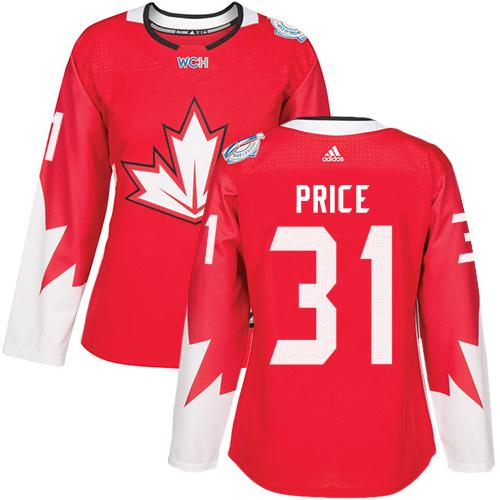 Team Canada #31 Carey Price Red 2016 World Cup Women's Stitched NHL Jersey