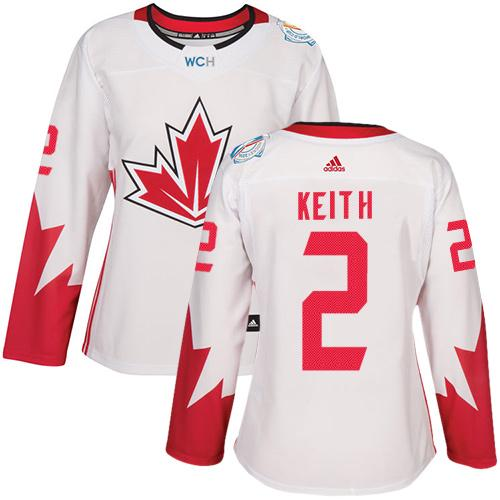 Team Canada #2 Duncan Keith White 2016 World Cup Women's Stitched NHL Jersey