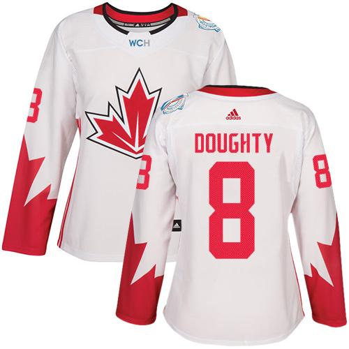Team Canada #8 Drew Doughty White 2016 World Cup Women's Stitched NHL Jersey
