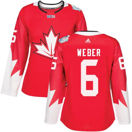 Team Canada #6 Shea Weber Red 2016 World Cup Women's Stitched NHL Jersey