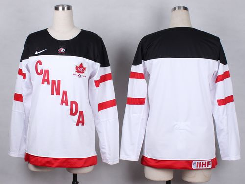 Team Canada Blank White 100th Anniversary Women's Stitched NHL Jersey