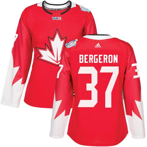 Team Canada #37 Patrice Bergeron Red 2016 World Cup Women's Stitched NHL Jersey