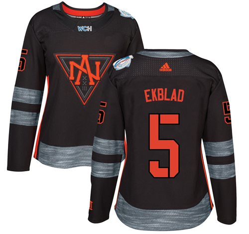 Team North America #5 Aaron Ekblad Black 2016 World Cup Women's Stitched NHL Jersey