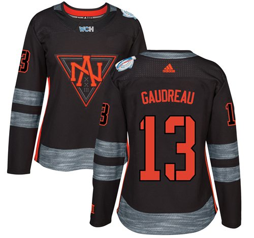 Team North America #13 Johnny Gaudreau Black 2016 World Cup Women's Stitched NHL Jersey